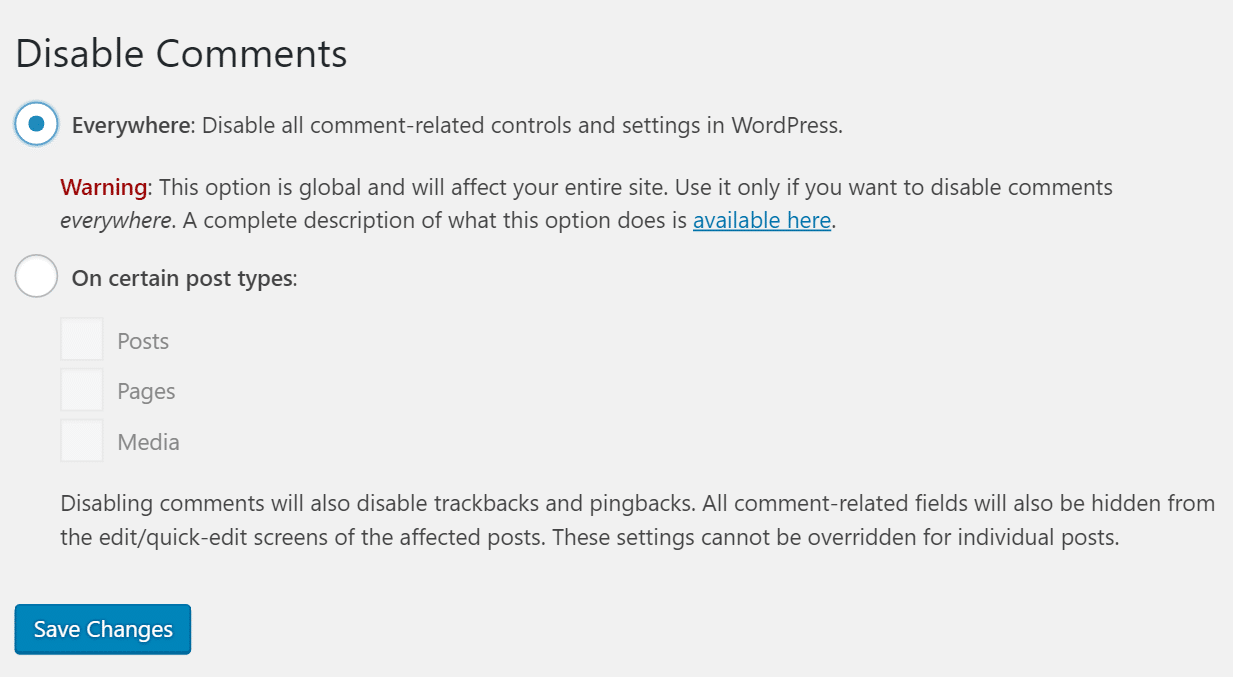 wordpress disable comments globally