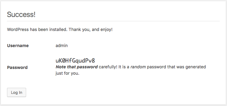 WordPress erstellt einen Admin-Benutzernamen für die zweite Installation