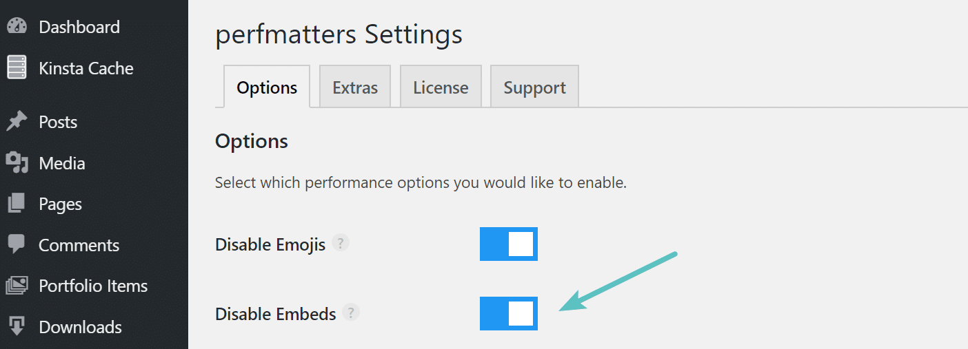 Disable embeds in perfmatters plugin