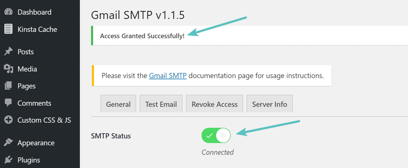 Gmail SMTP access granted