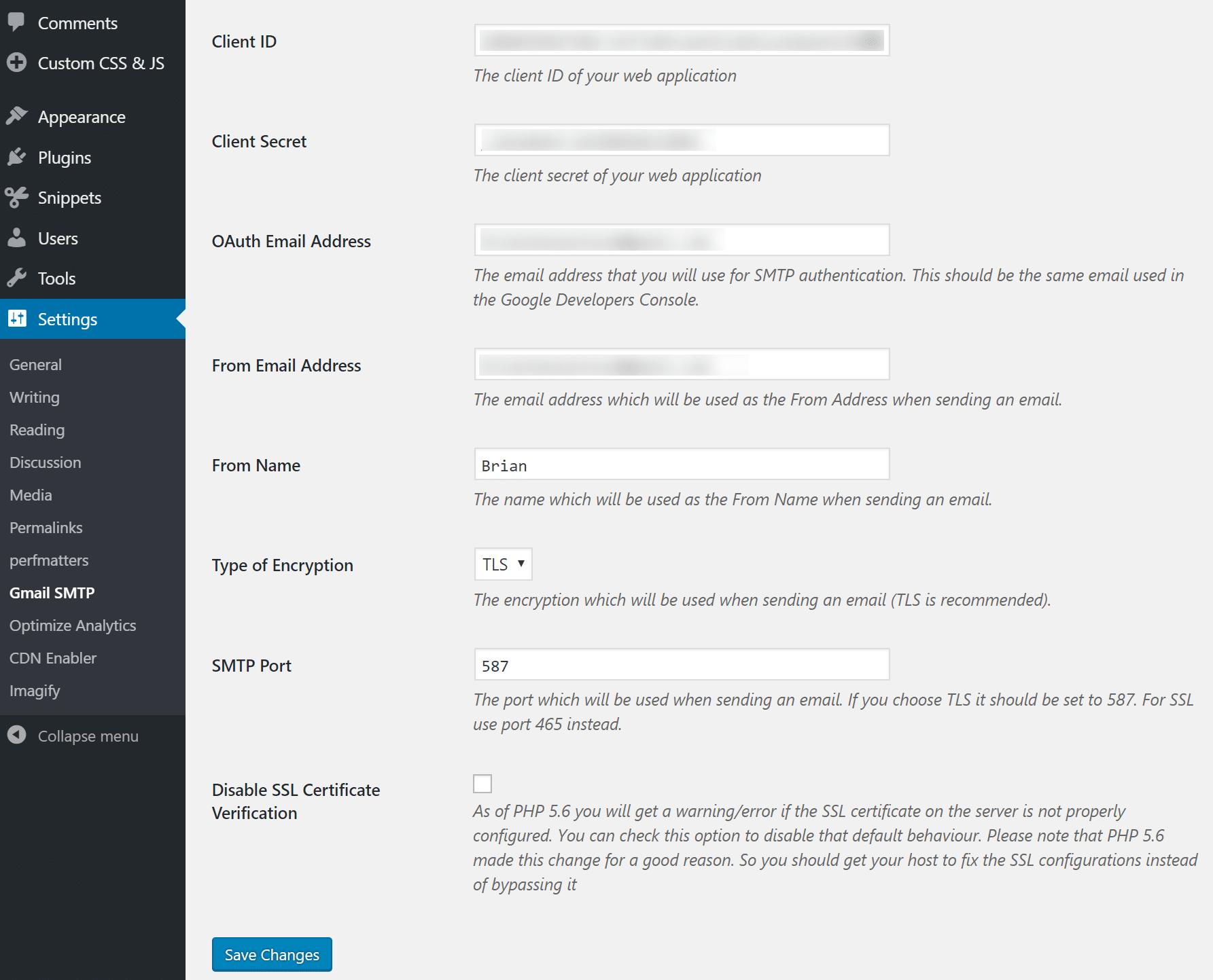 Gmail SMTP additional settings