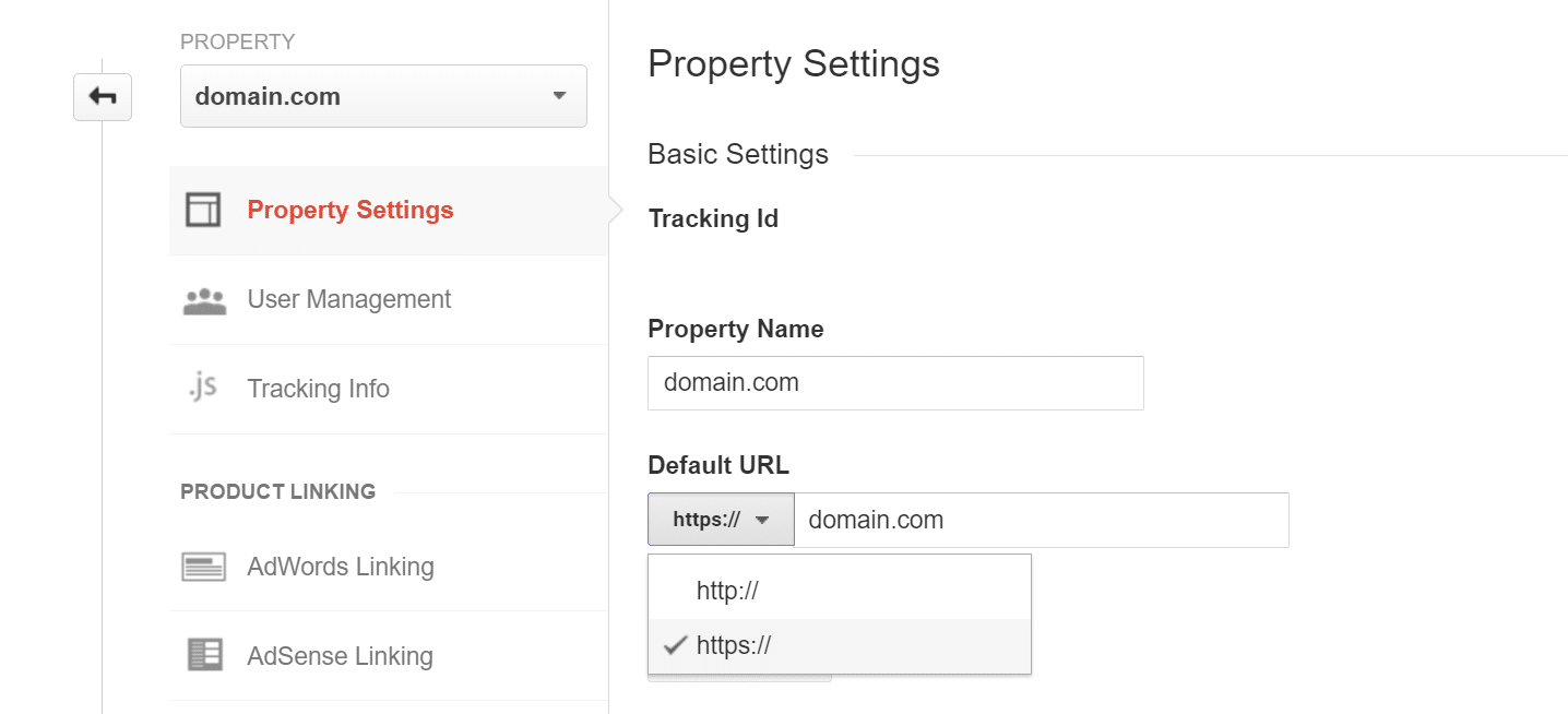 https google analytics property