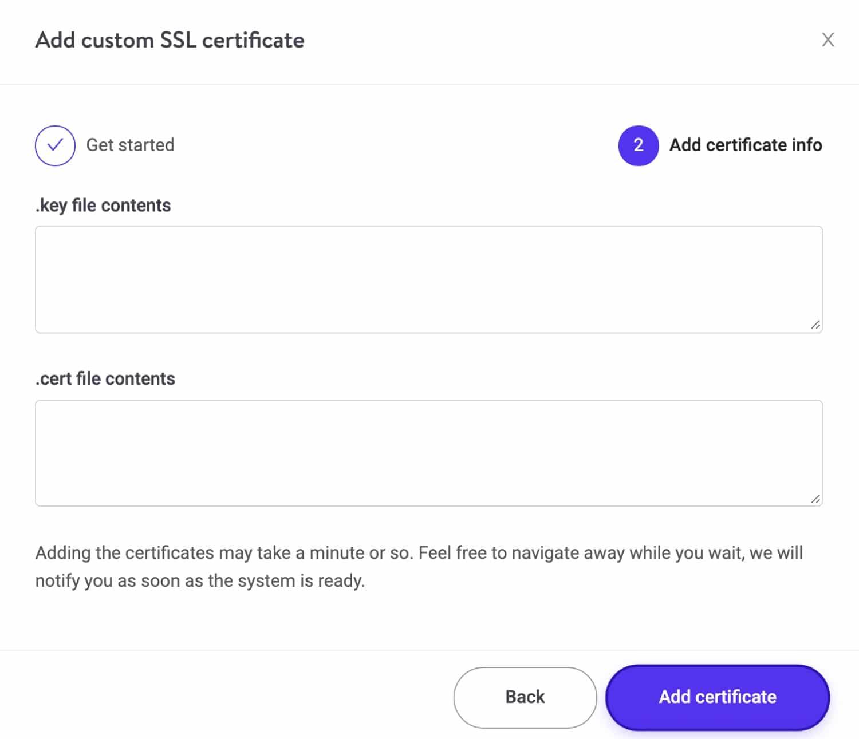 Ajoutez les détails d'un SSL personnalisé.