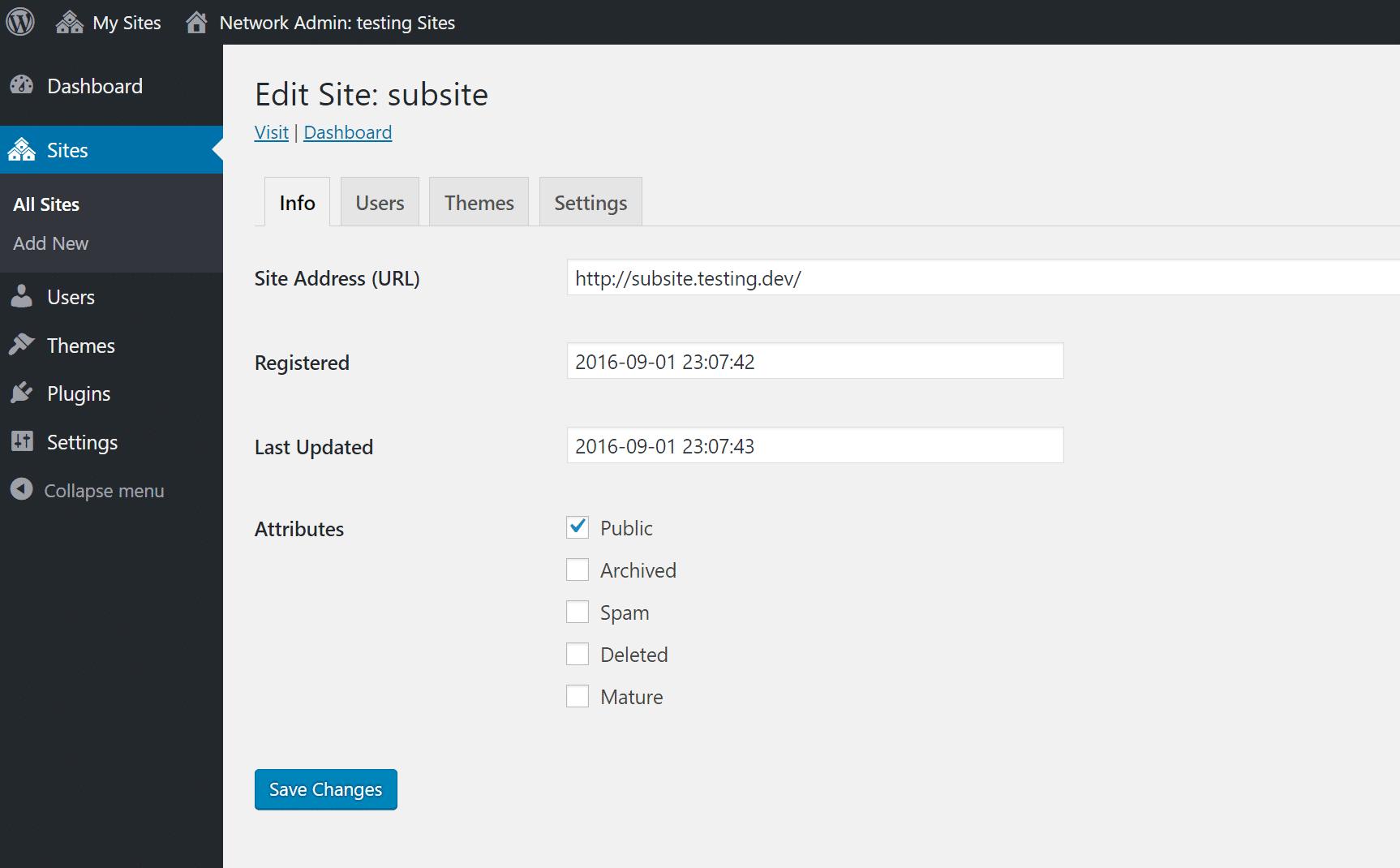 multisite edit site