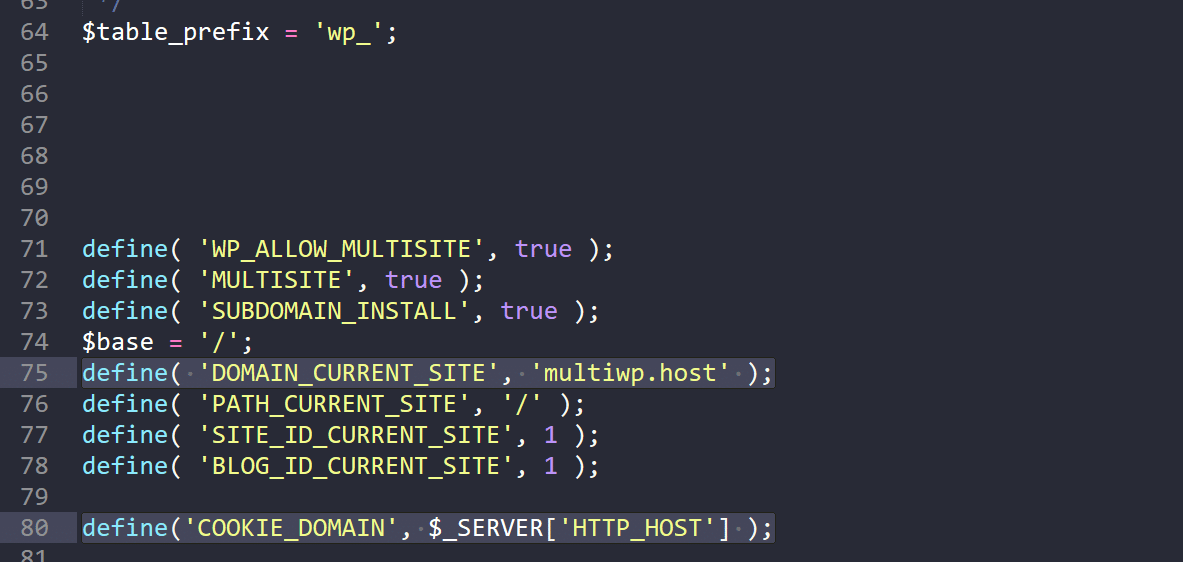 Variables de Multisitios en wp-config.php