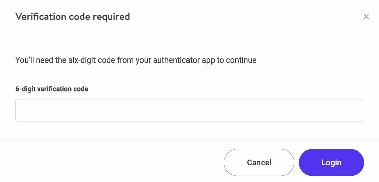 MyKinsta login with 2FA.