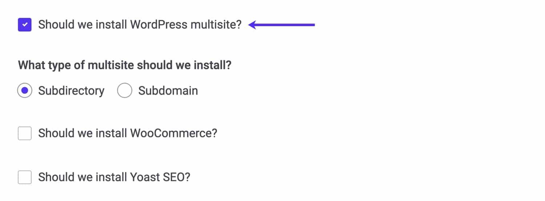 Créez un multisite dans MyKinsta.
