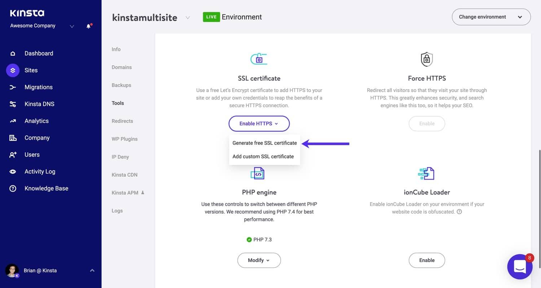 Generate an SSL certificate in MyKinsta.