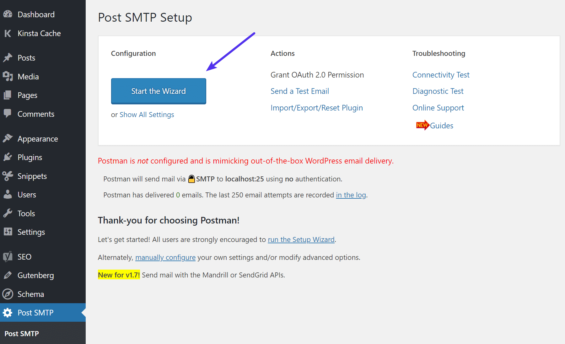 Post SMTP start wizard
