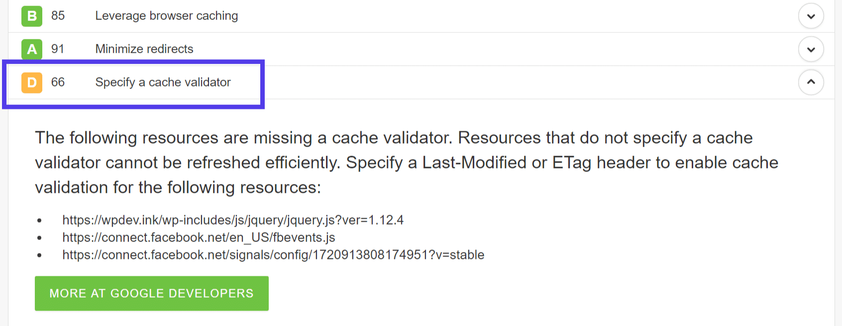 Specify a cache validator warning