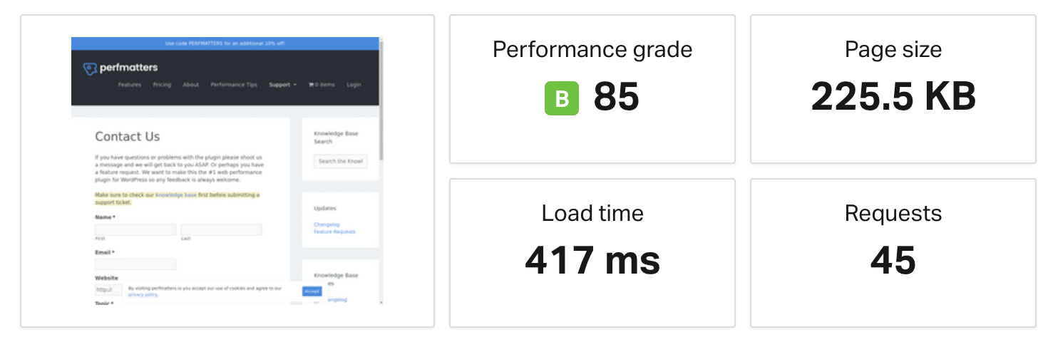 Website speed test with no redirects