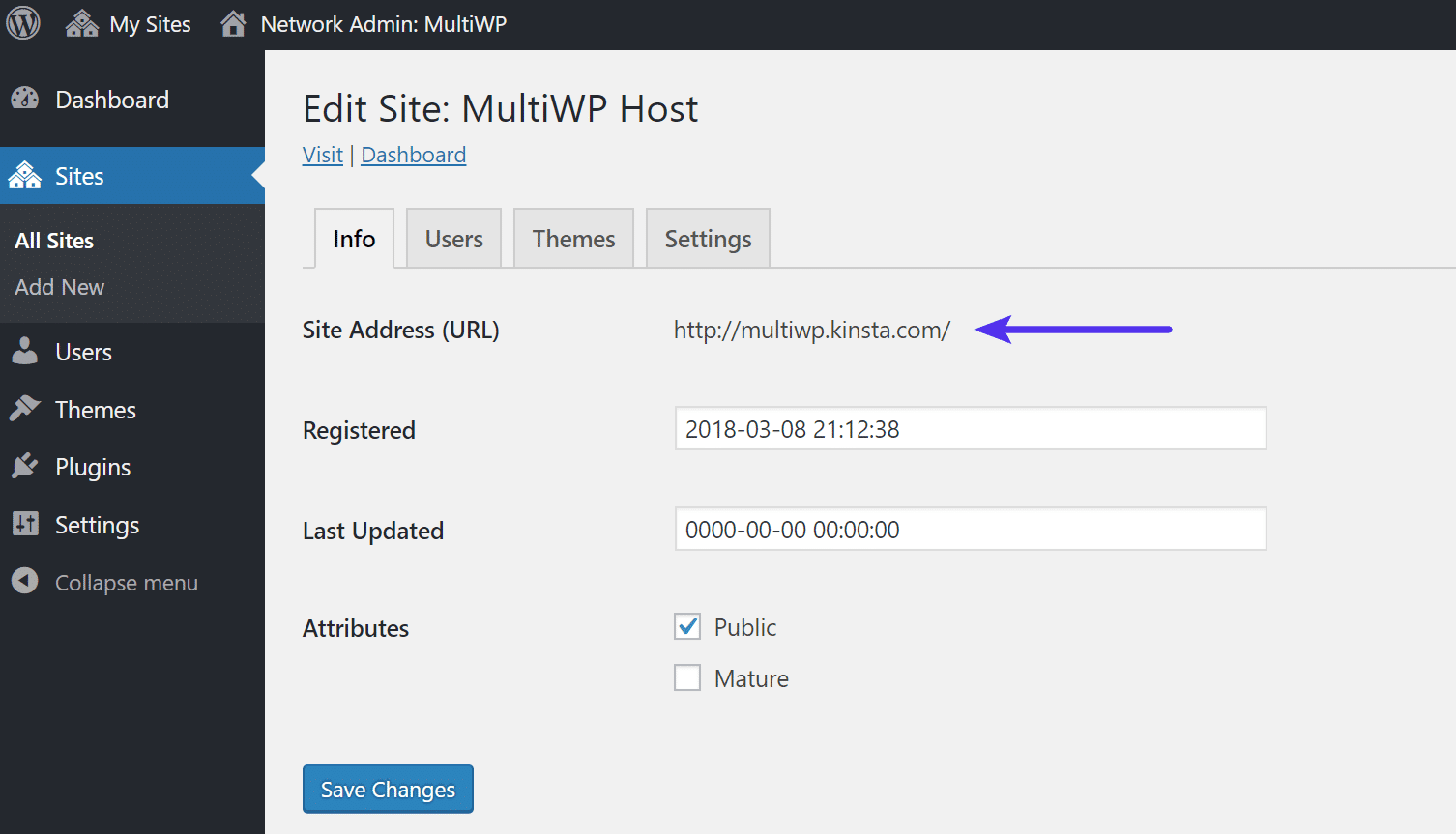 WordPress multisite main subsite address URL