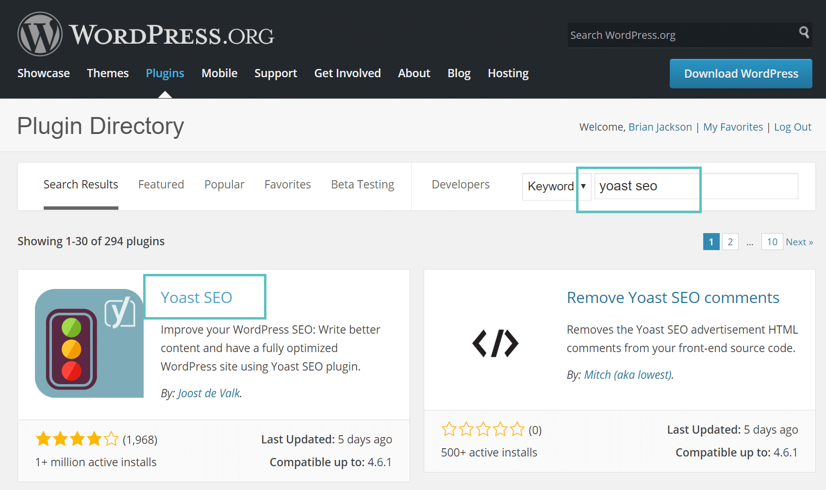 wordpress repository search plugin