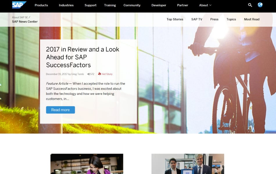 SAP-news-center 130+ WordPress Site Examples of Big Brands in 2018