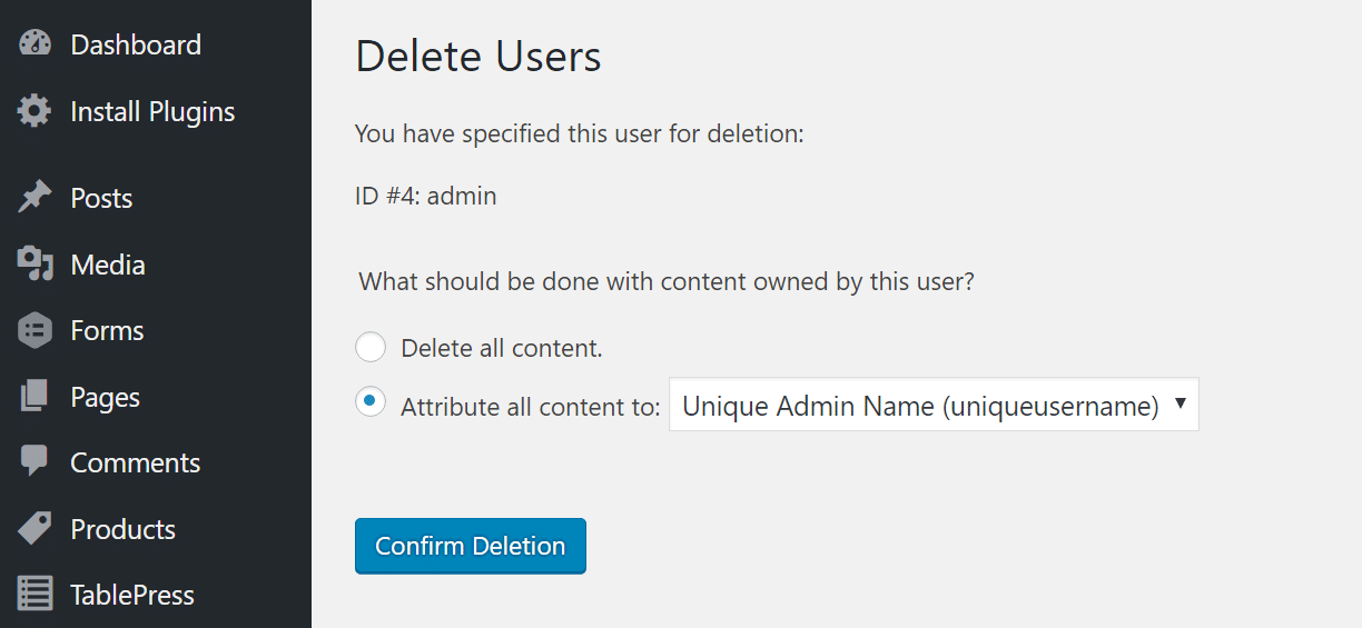 delete admin attribute all content to