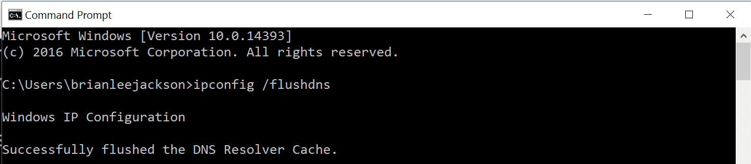 flushed dns resolver cache
