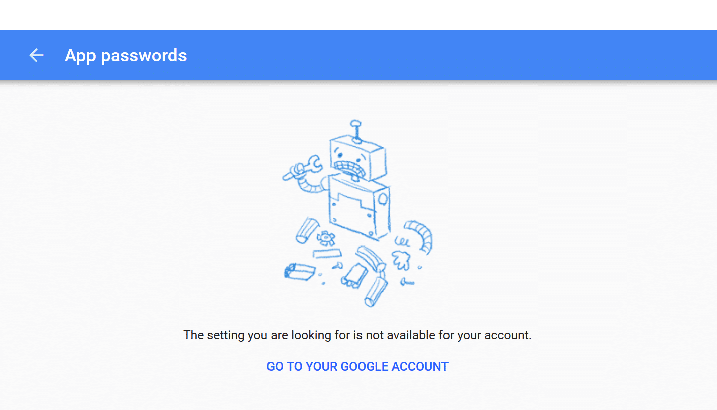 Google App password not available