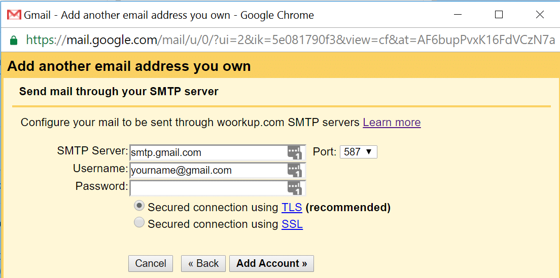 google smtp server custom domain