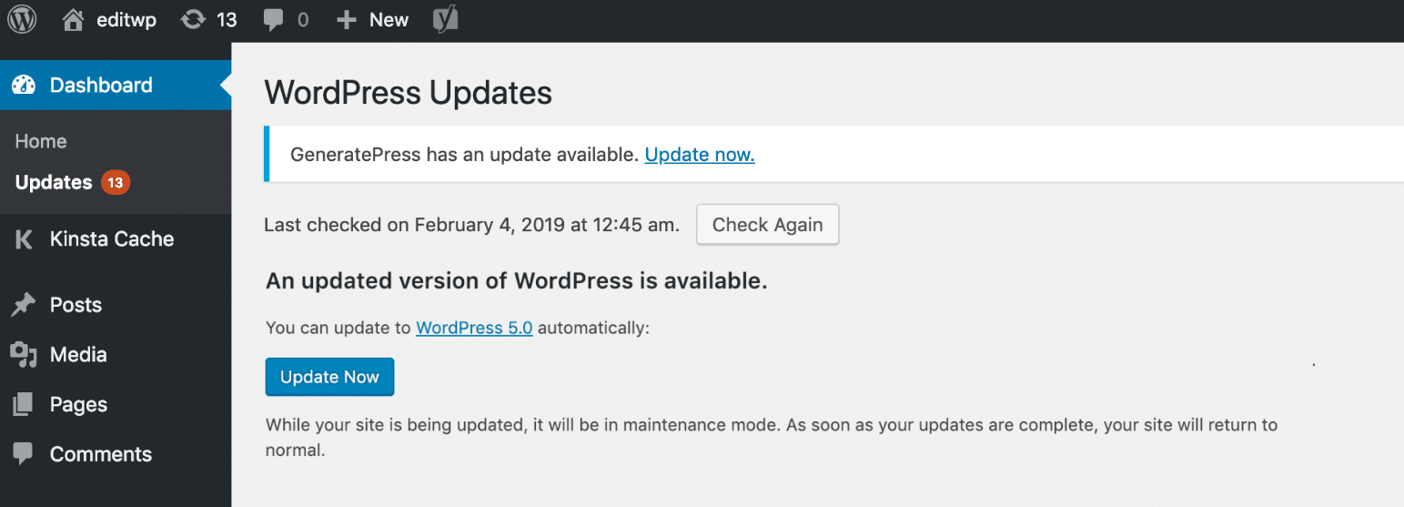 Keep WordPress up to date