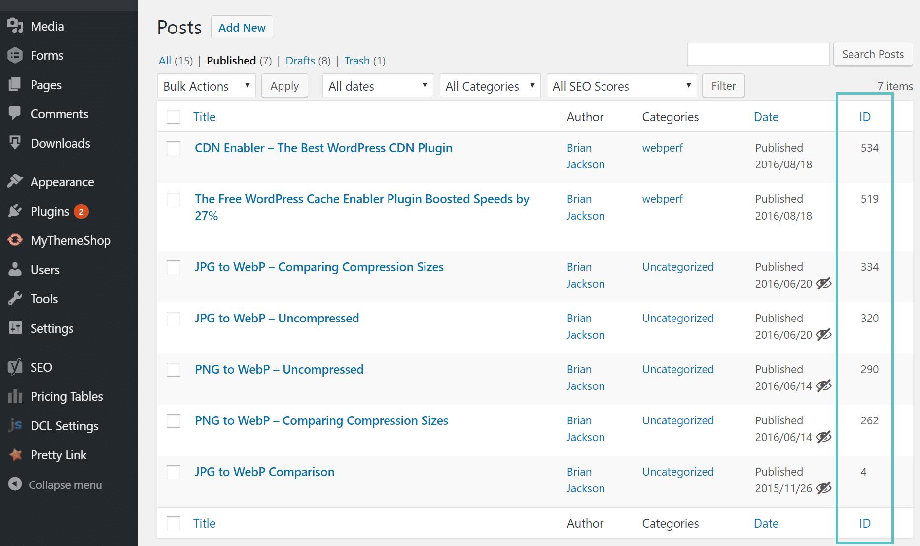 show post id in wordpress dashboard