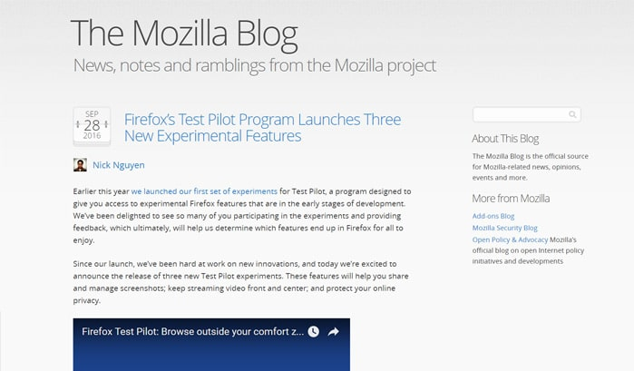 the mozilla blog wordpress sites