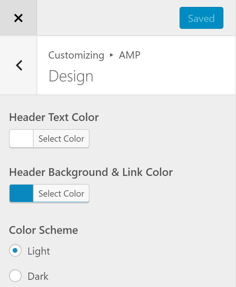 wordpress amp customize appearance