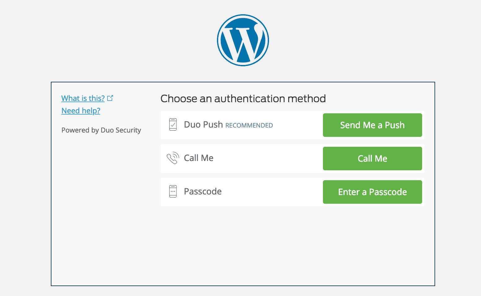 WordPress two-factor authenticator page