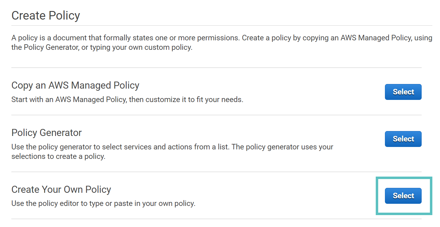 create policy aws