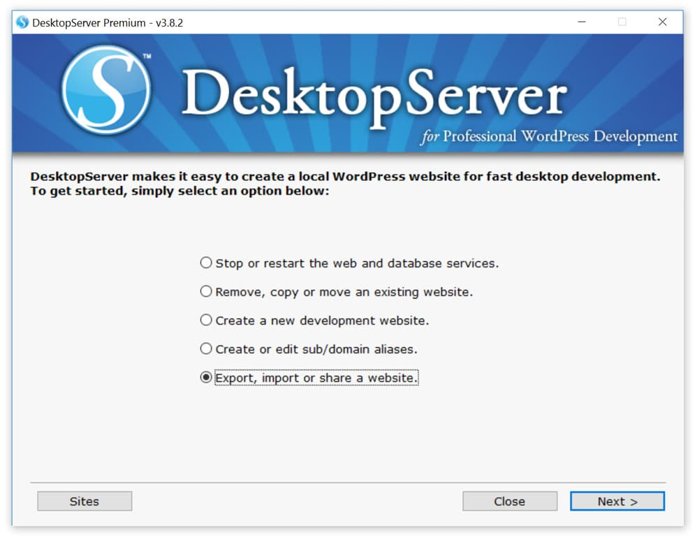 export desktop server