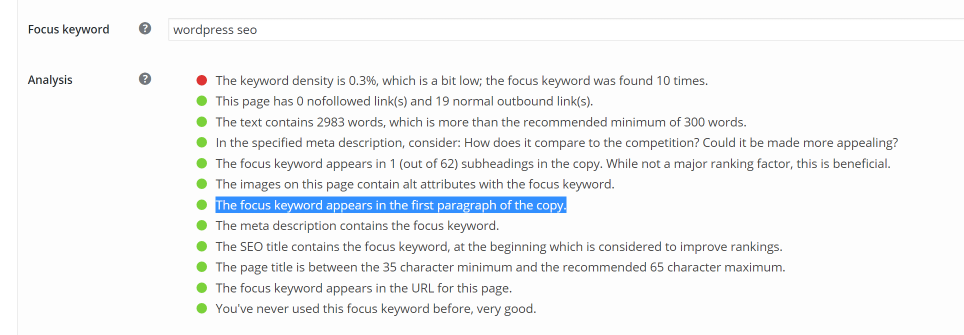 focus keyword first paragraph