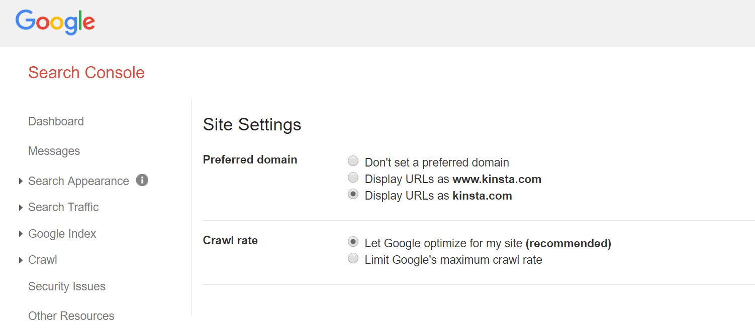 google search console preferred domain