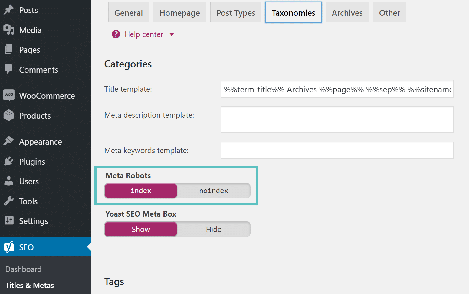 index categories wordpress
