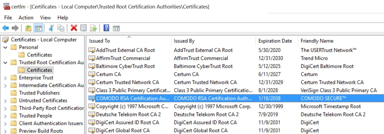 trusted root certificate authorities