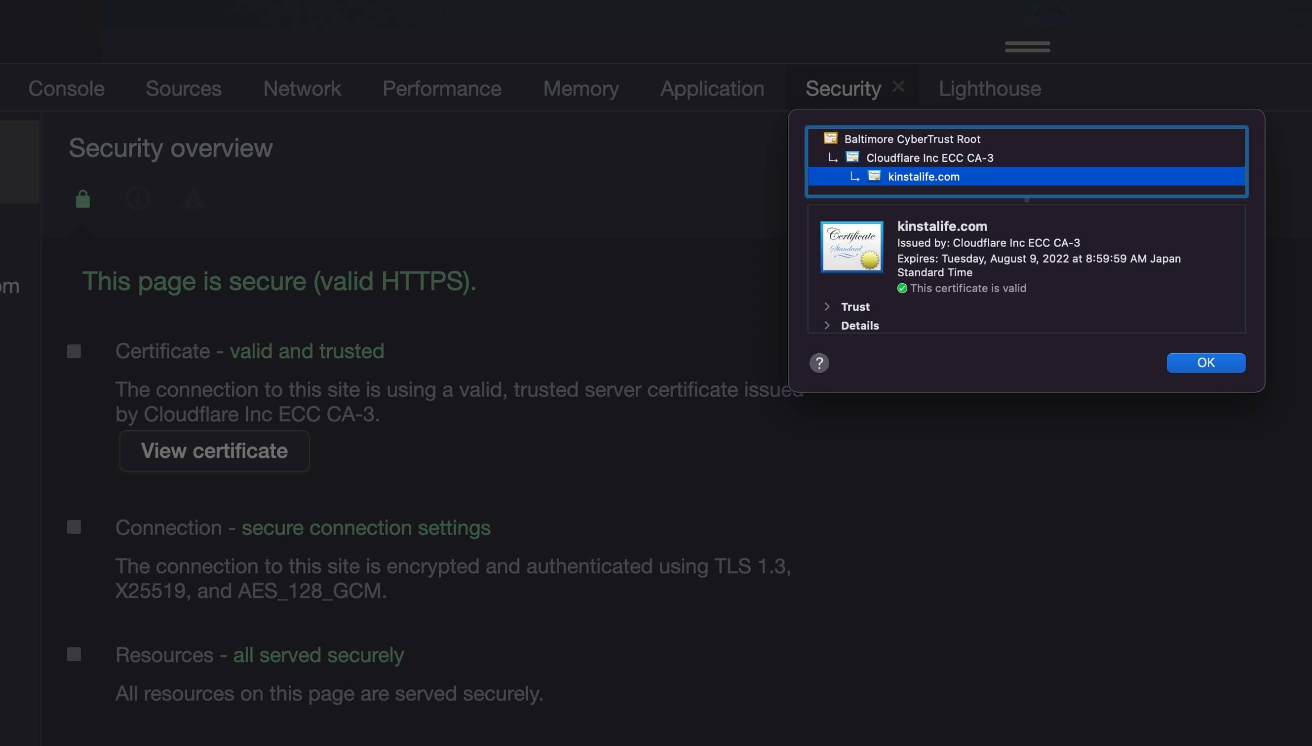 Cloudflare SSL in den Chrome-Entwicklungstools.