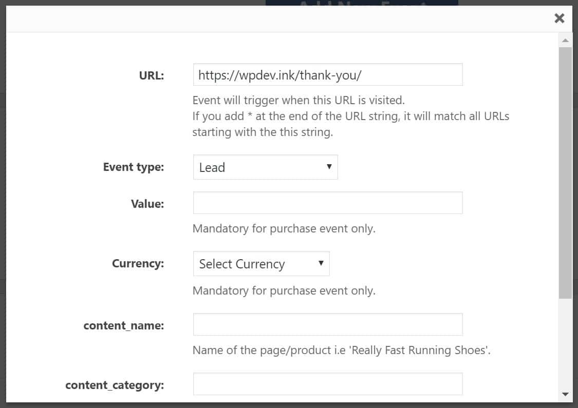 add custom event fb