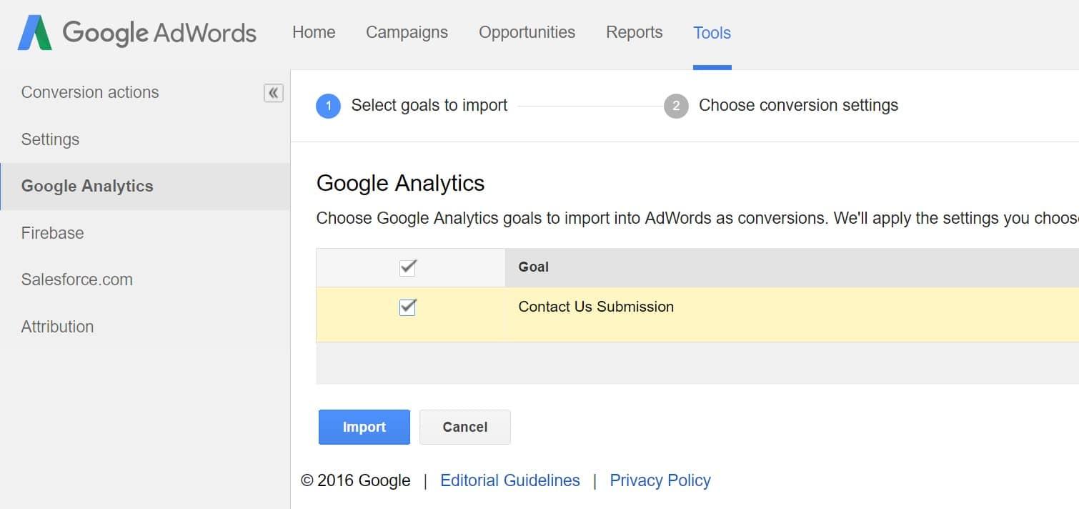 import analytics goal adwords