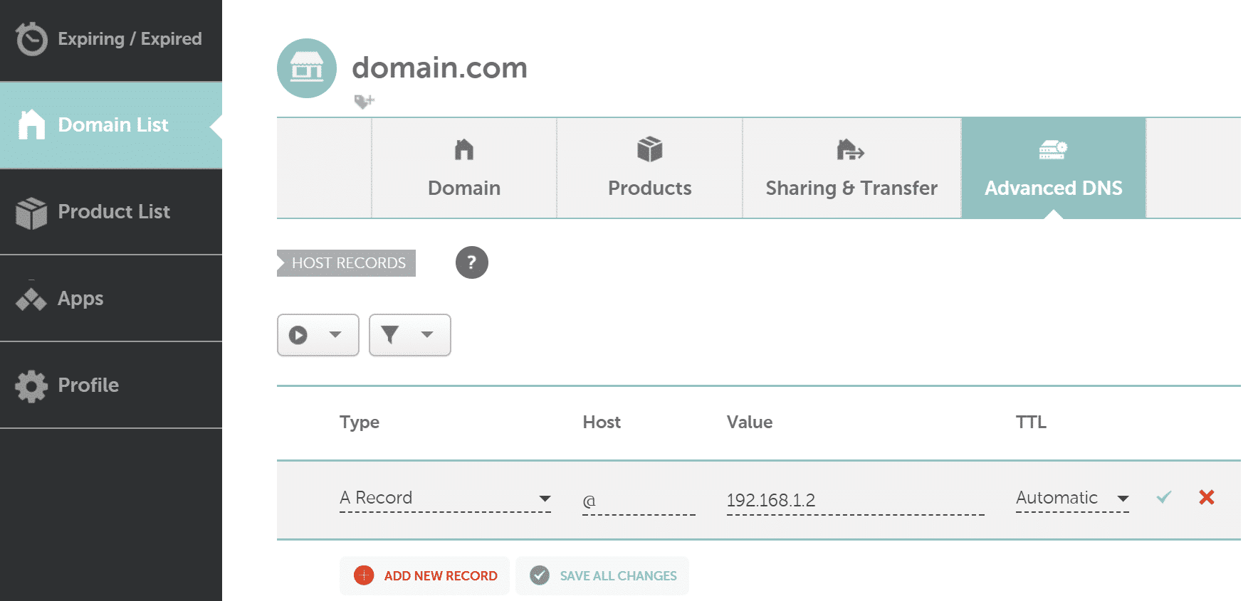 namecheap a record ip address