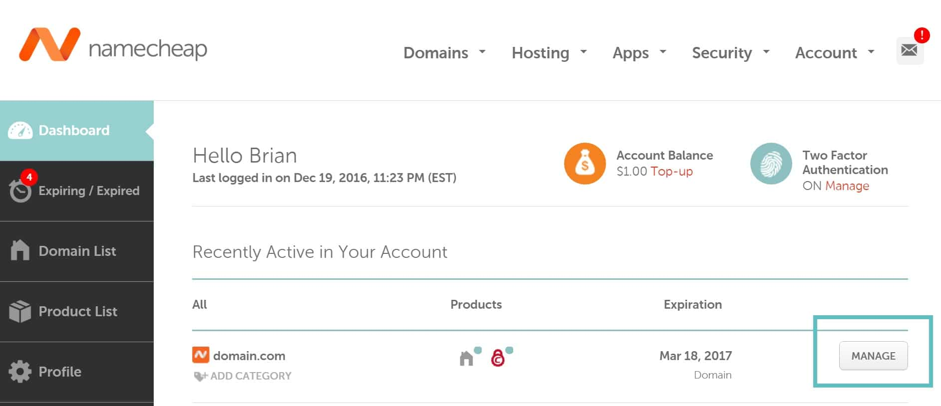 namecheap manage domain