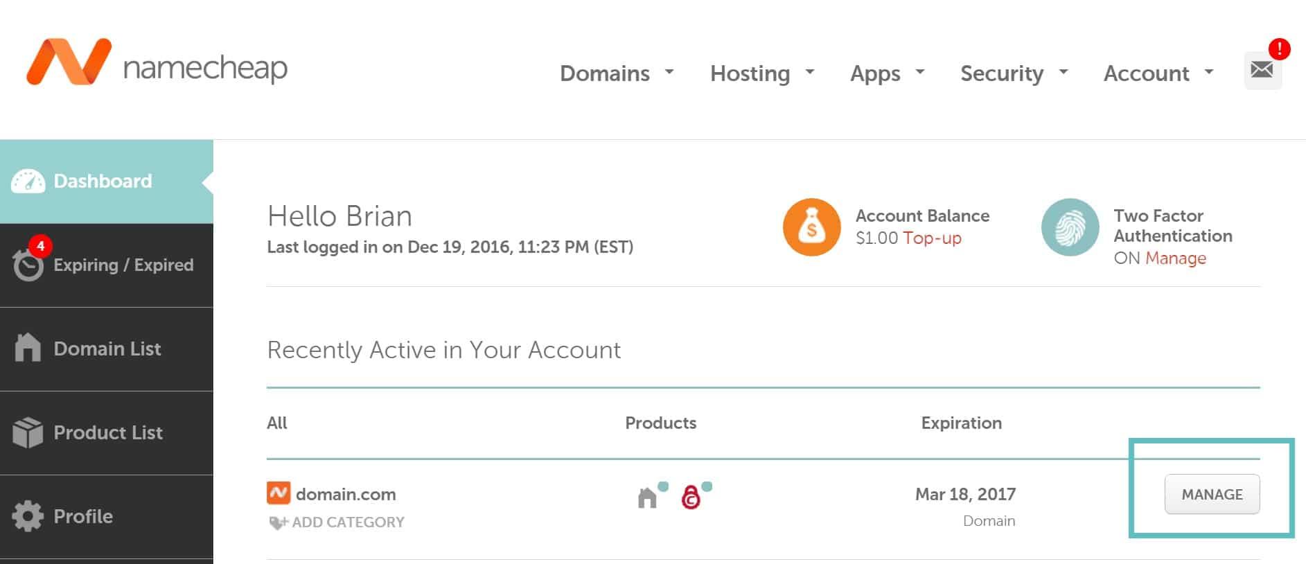 namecheap manage domain