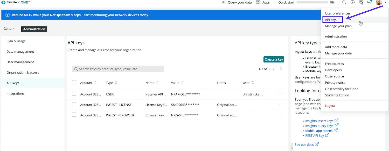 Sélectionnez Clés d'API dans la liste déroulante des comptes.