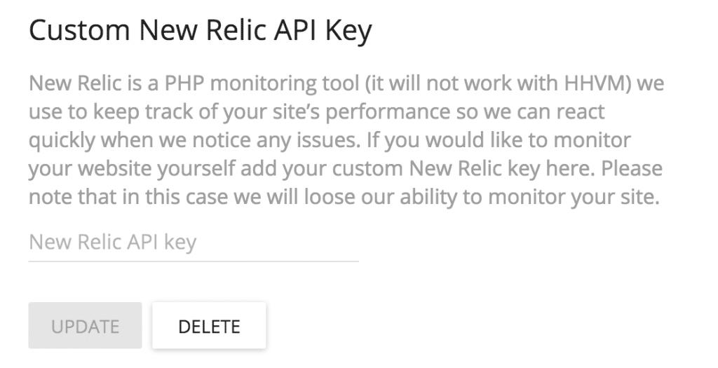 New Relic tracking API key setting