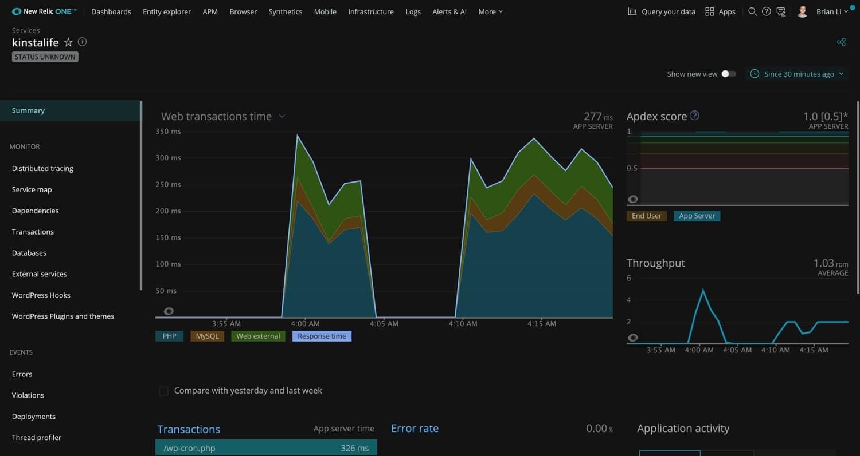 Monitoraggio della performance su New Relic.