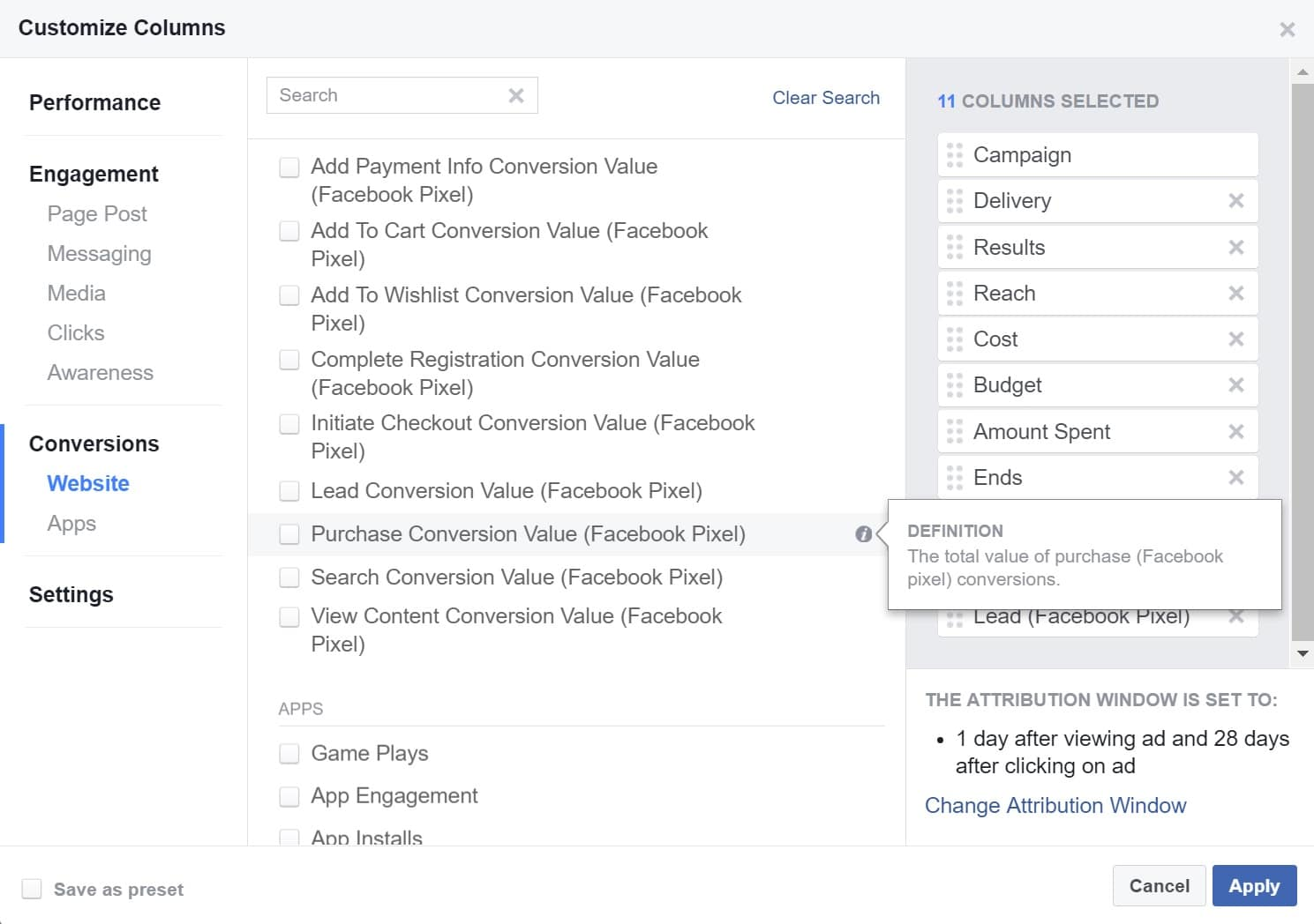 purchase conversion value facebook