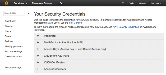Your Security Credentials console