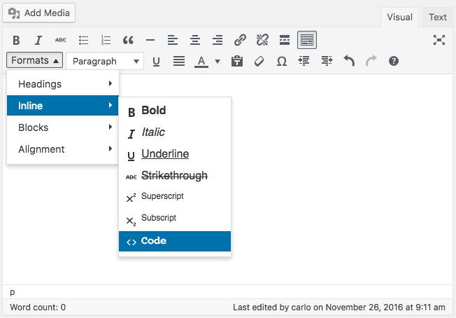 Le menu déroulant Format affichera une liste de tous les styles CSS disponibles.