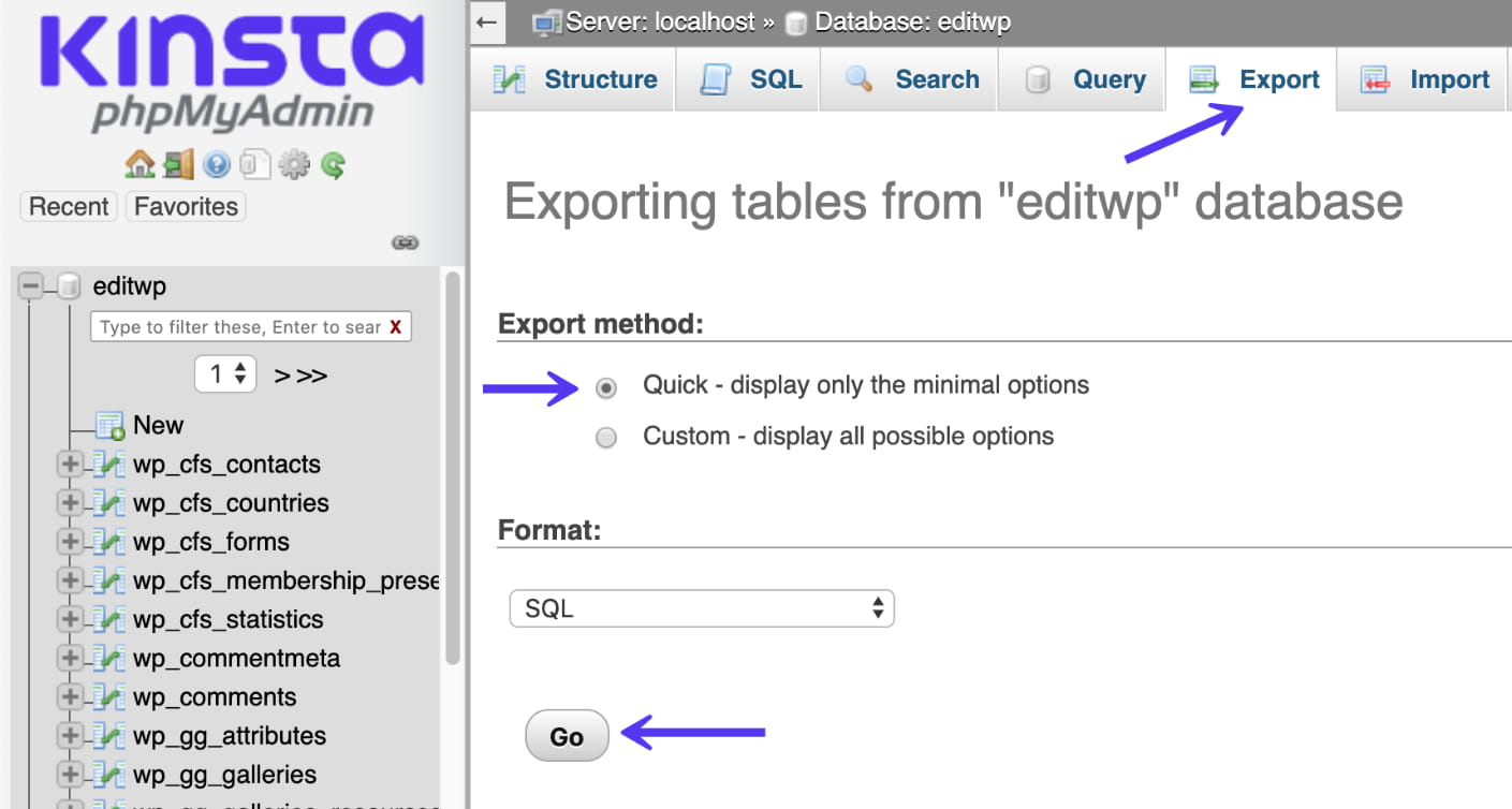 Export tables in phpmyadmin