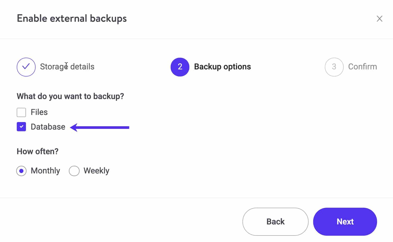 Maak een backup van je WordPress database naar Amazon S3 of GCS.