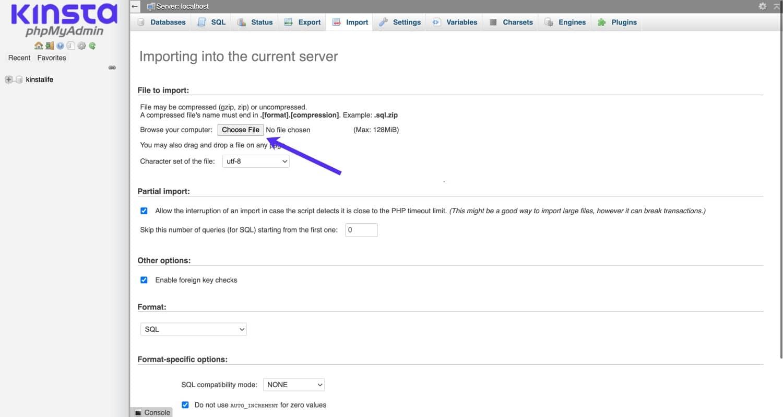 Datenbank in phpMyAdmin importieren.
