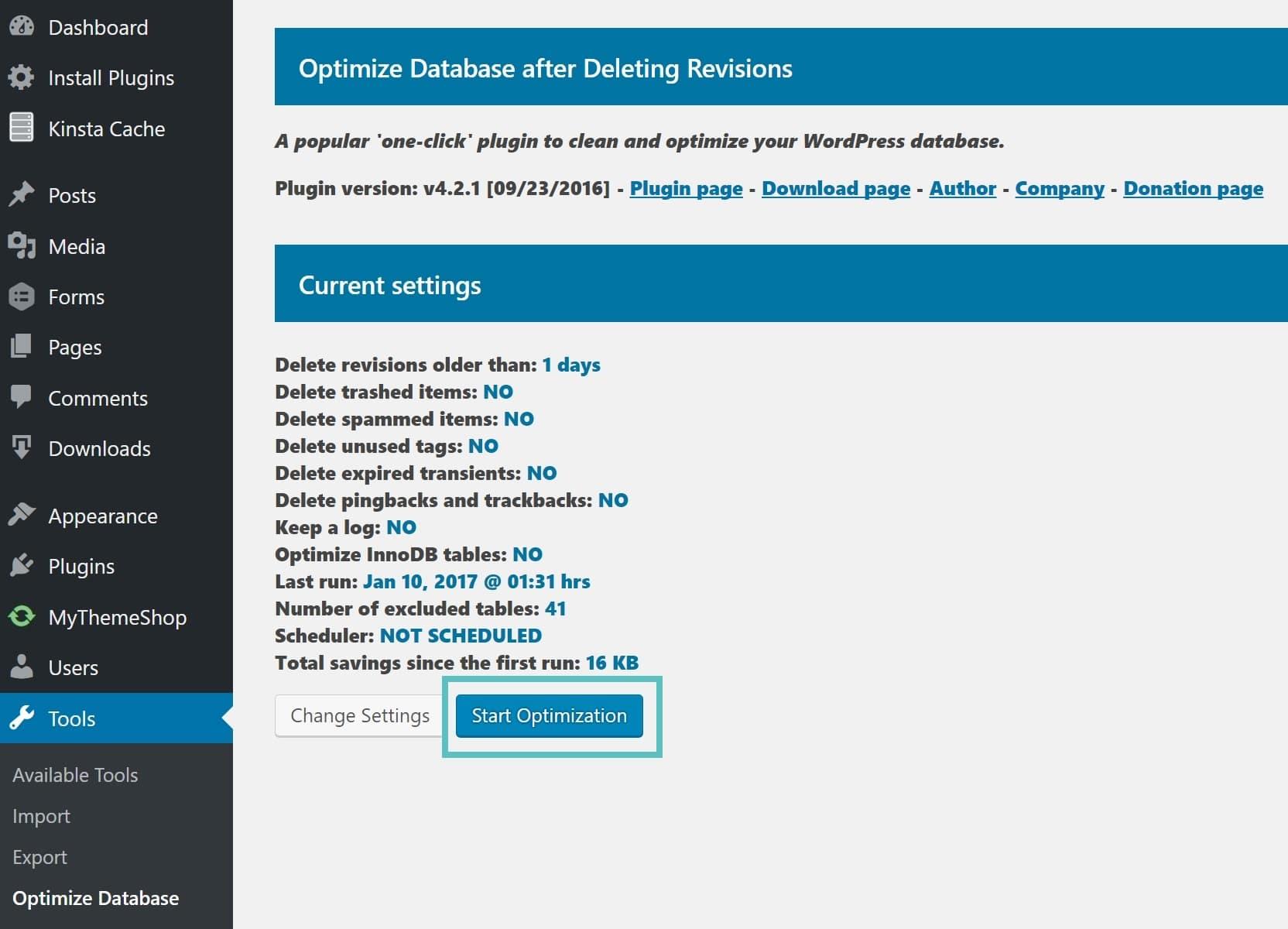 start optimization database