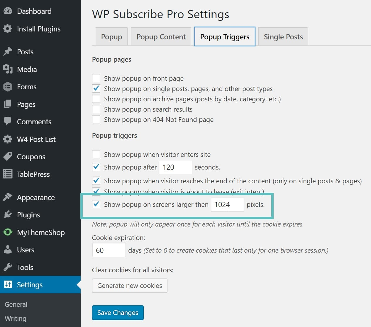 wp subscribe pro disable popup mobile